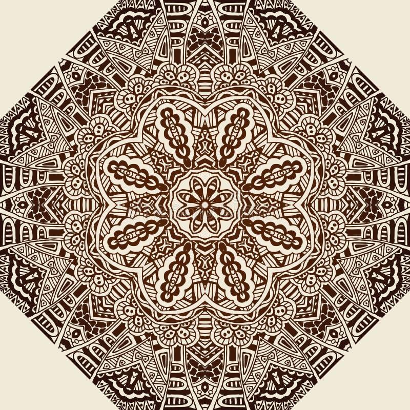 Bakgrund för doily för mandala för tappningperson som tillhör en etnisk minoritetabstrakt begrepp vektor illustrationer