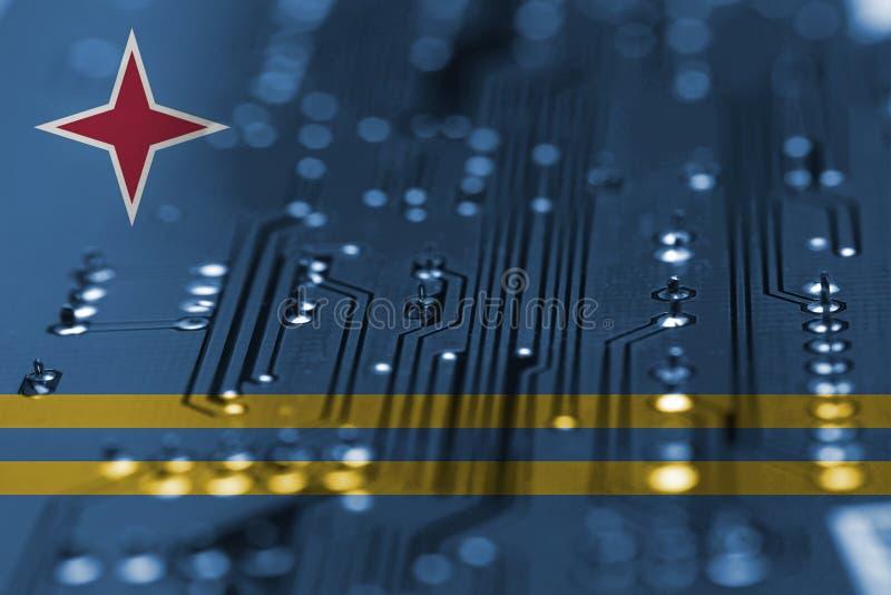 Bakgrund för Elecectric strömkretsbräde med att blanda den Aruba flaggan arkivbild