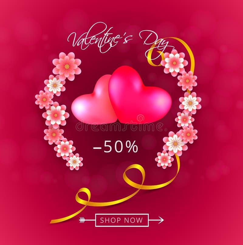 Bakgrund för erbjudande för gåva för valentindagförsäljning med två hjärtor och rosa papper-snitt blommor stock illustrationer