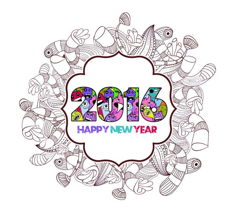 Bakgrund för etikett för gigantiskt klotter för lyckligt nytt år 2016 blom- vektor illustrationer