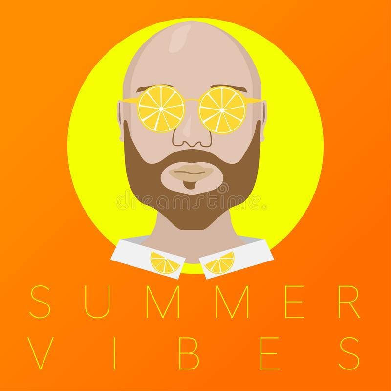 bakgrund för exponeringsglas för citron för sommarvibesstående orange royaltyfri illustrationer