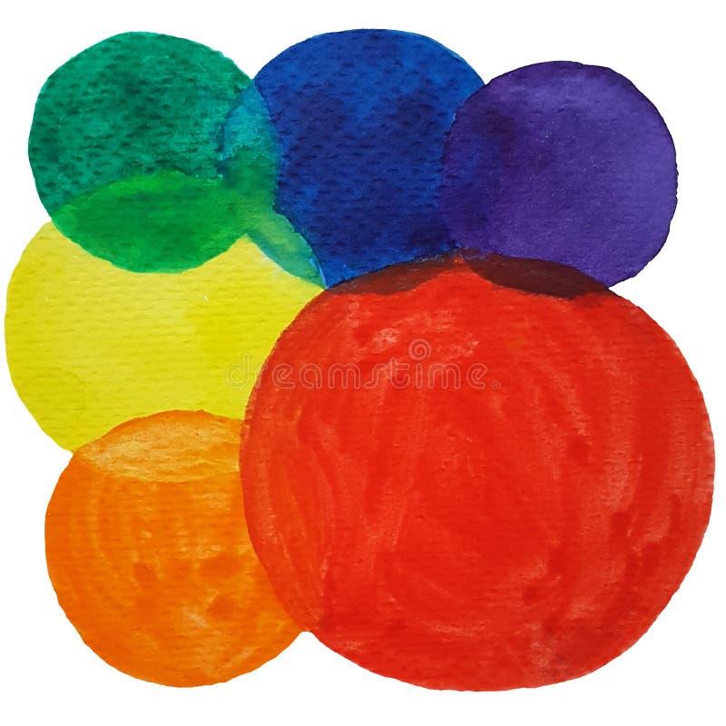 Bakgrund för färgrika cirklar för vattenfärg abstrakt Upps?ttning av m?ngf?rgade vattenf?rgprickar royaltyfri bild