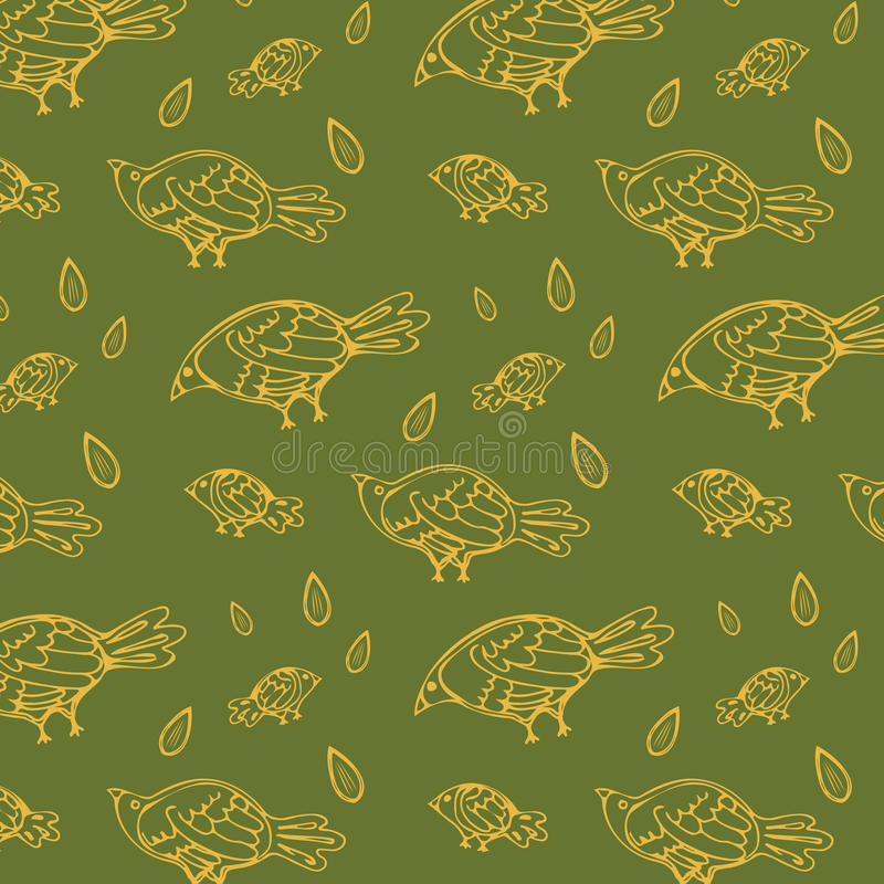 Bakgrund för fåglar för sömlös grön fiskbensmönstermodellvectorNon sömlös, tunn linje stil, lägenhetdesign royaltyfri illustrationer