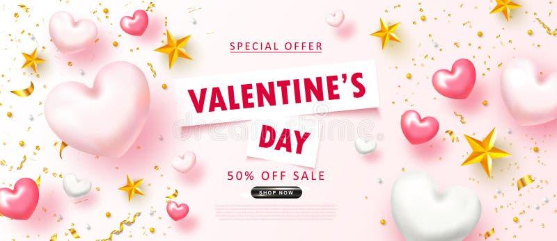 Bakgrund för försäljning för dag för valentin` s Romantisk sammansättning med hjärtor, stjärnor, pärlor och slingrande Vektorillu vektor illustrationer