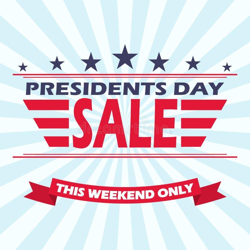 Bakgrund för försäljning för dag för vektorUSA presidenter med stjärnor, band och bandet royaltyfri illustrationer