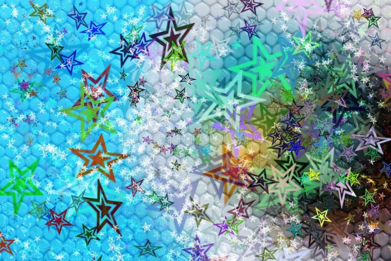 Bakgrund för fantasiabstrakt begreppfärg med stjärnaformer royaltyfri illustrationer