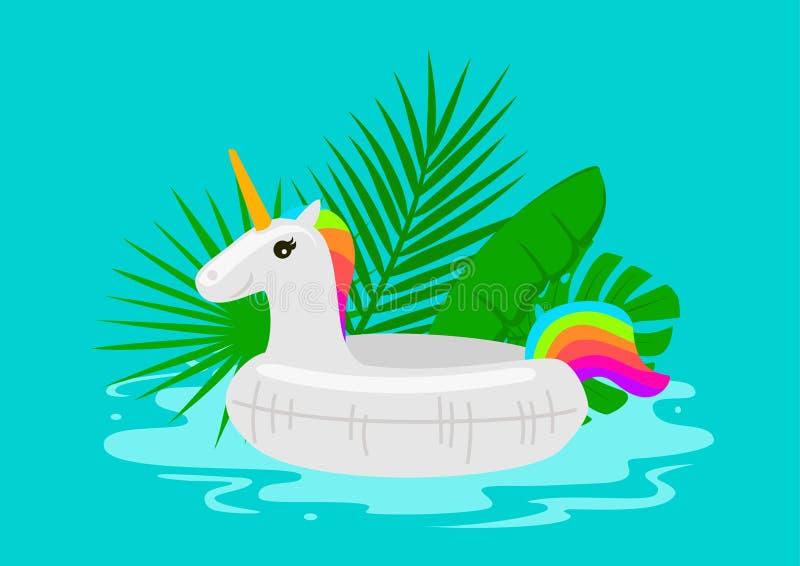 Bakgrund för ferier för sommartidpölstrand med den uppblåsbara enhörningflötet för simning med tropiska sidor stock illustrationer