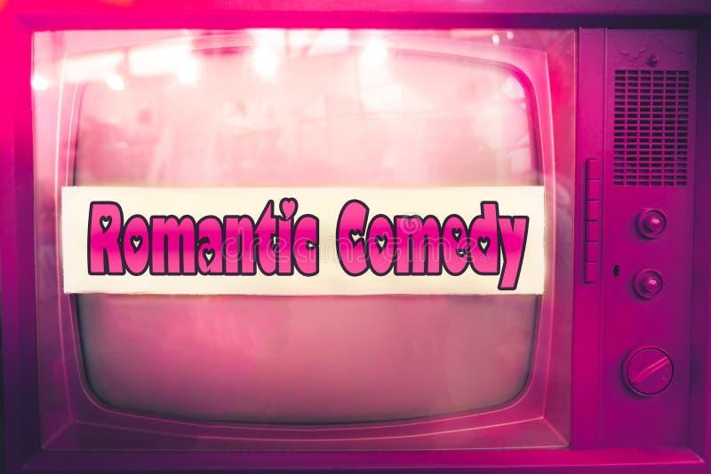 Bakgrund för film för romantisk för tvfilm för komedi rosa för genre purpurfärgad för television för etikett gammal för tv tappni royaltyfri fotografi
