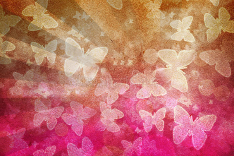 Bakgrund för fjärilsGrungetappning stock illustrationer