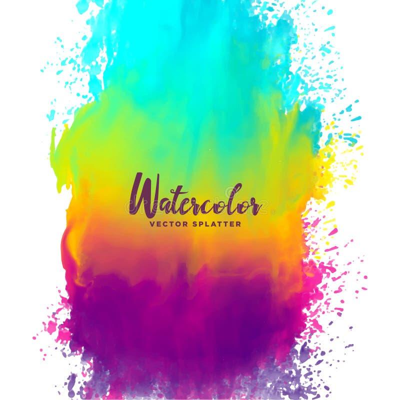 Bakgrund för fläck för färgstänk för regnbågefärgvattenfärg vektor illustrationer