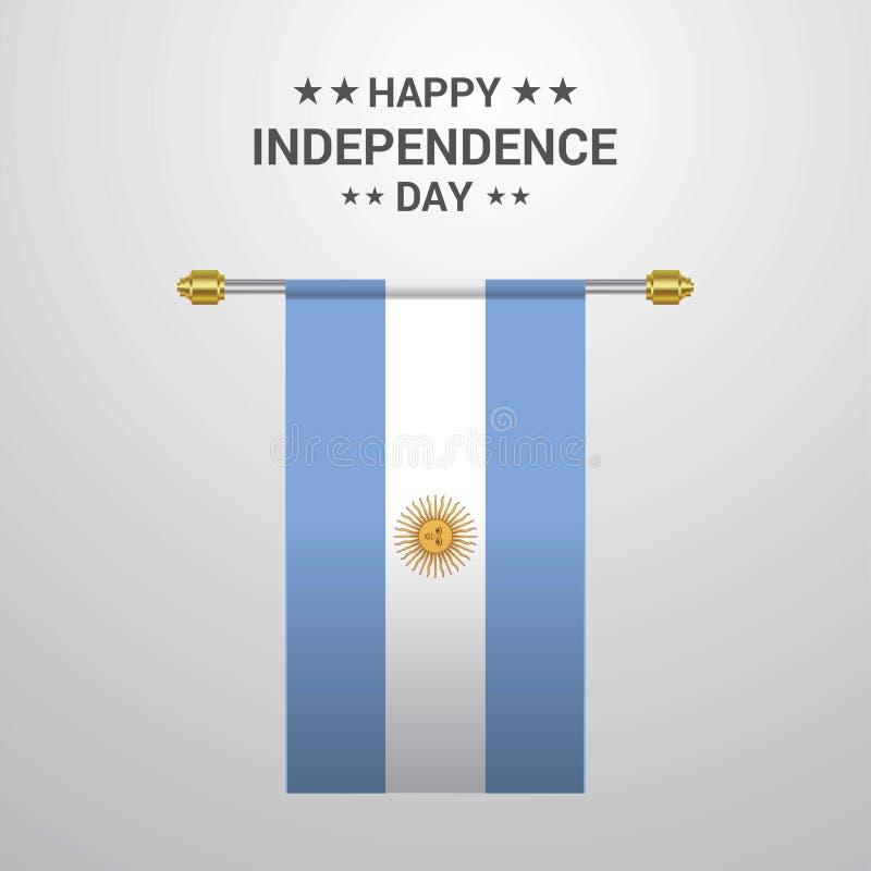 Bakgrund för flagga för Argentina självständighetsdagen hängande stock illustrationer