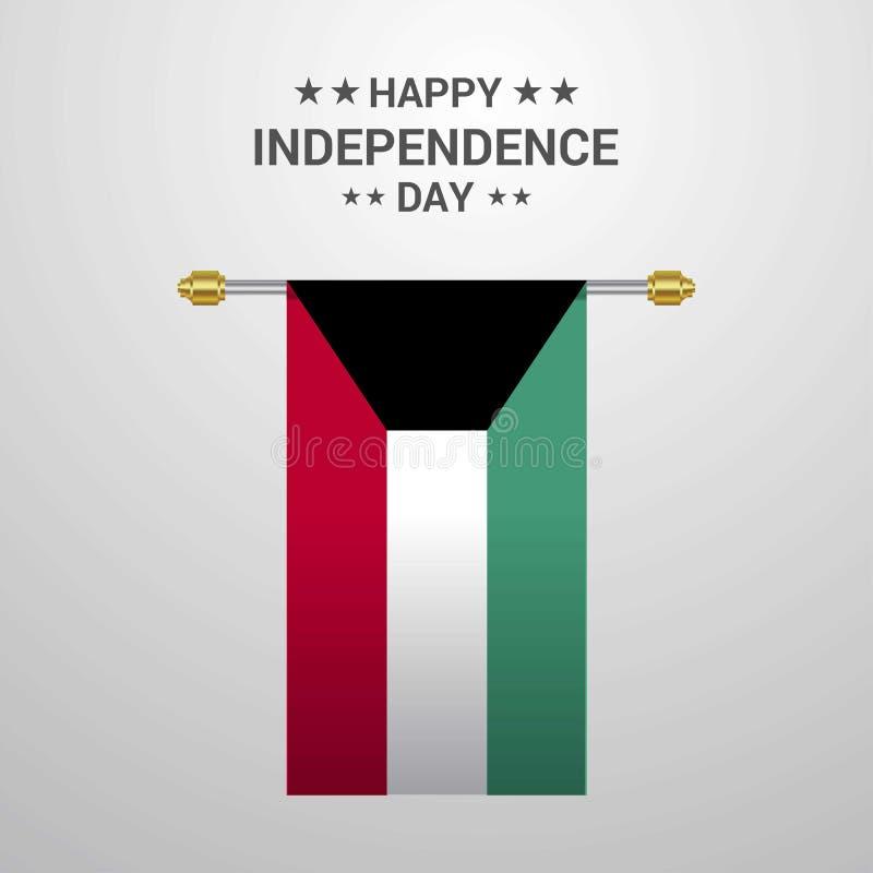 Bakgrund för flagga för Kuwait självständighetsdagen hängande stock illustrationer