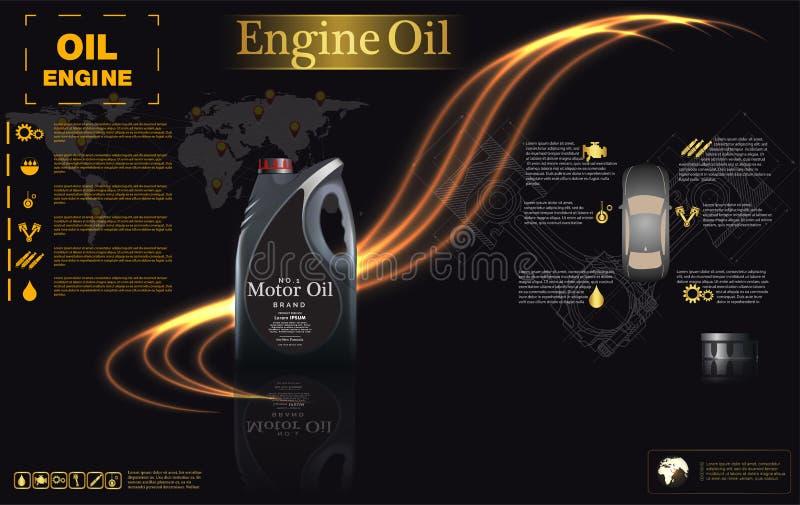 Bakgrund för flaskmotorolja, vektorillustration stock illustrationer