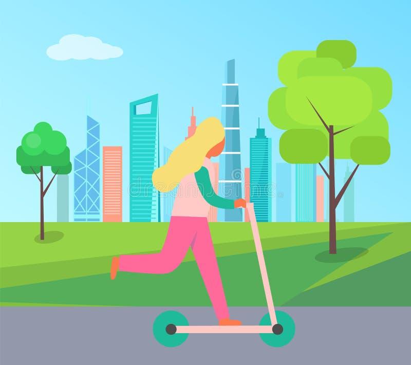 Bakgrund för flickaRidingKick sparkcykel av skyskrapan vektor illustrationer