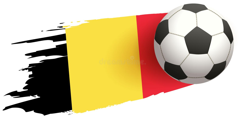 Bakgrund för fluga för fotbollboll av den belgiska flaggan stock illustrationer