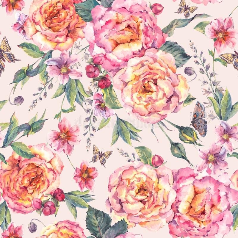Bakgrund för foral rosor för vattenfärg sömlös royaltyfri illustrationer