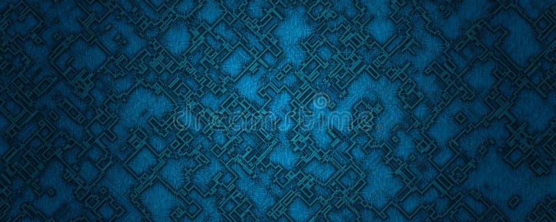 Bakgrund för form för Digital illustration abstrakt materiell blå fyrkantig vektor illustrationer