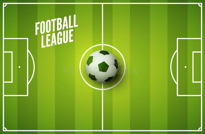 Bakgrund för fotbollgräsfält Fotbollgräsplanfält med bollen Sportstadionområde royaltyfri illustrationer