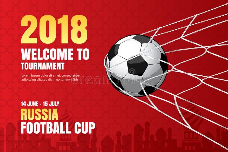 Bakgrund 2018 för fotbollvärldsmästerskap av fotbollsportdesien royaltyfri illustrationer