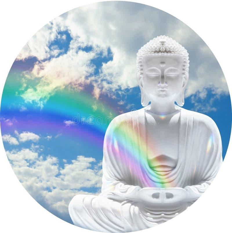 Bakgrund för framsida för klocka för Budhha regnbåge rund royaltyfri foto