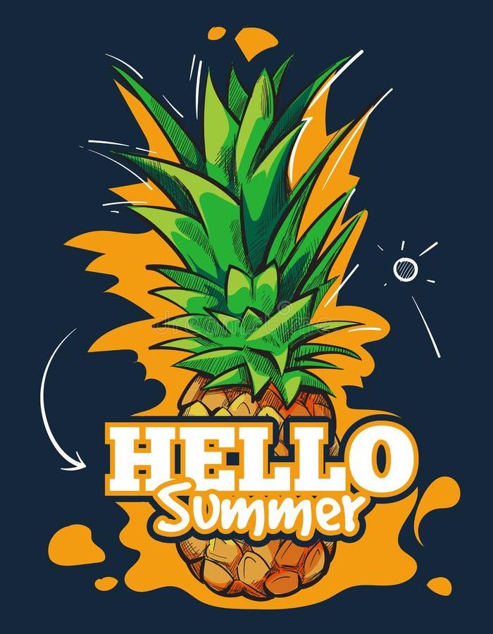 Bakgrund för frukt för Hello sommarvektor med tropisk ananas stock illustrationer