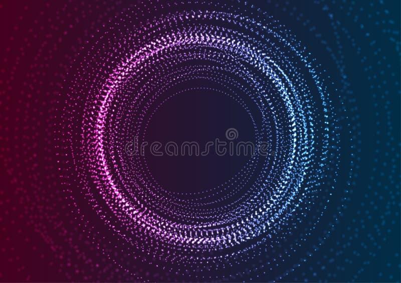 Bakgrund för futuristiska partiklar för neon flödande abstrakt vektor illustrationer