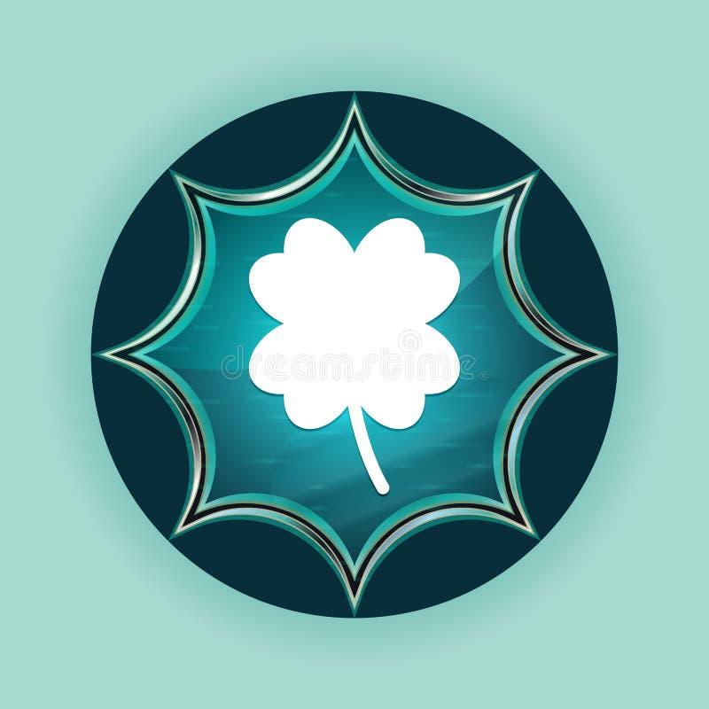 Bakgrund för fyra bladväxt av släktet Trifoliumsymbol magisk glas- sunburst blå för knapp för lycklig blått för himmel vektor illustrationer