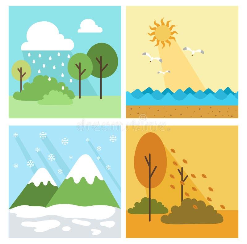 Bakgrund för fyra säsong, vektor vektor illustrationer