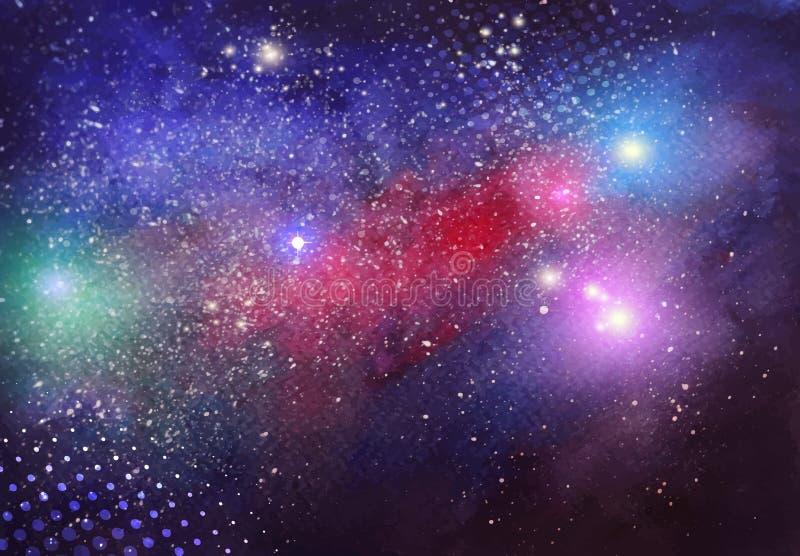 Bakgrund för galax för vektorvattenfärg hand dragen vektor illustrationer