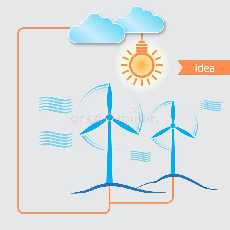 Bakgrund för generator för alternativ energi för vind royaltyfri illustrationer