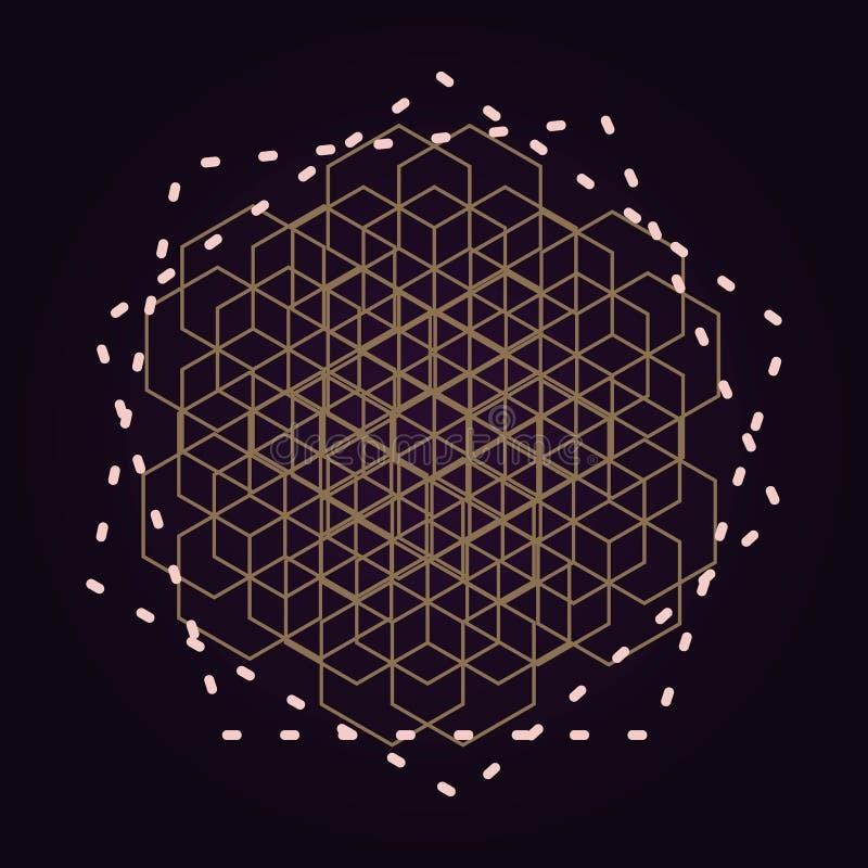 bakgrund för geometri för mandala för vektor guld- abstrakt sakral isolerad mörk illustration stock illustrationer