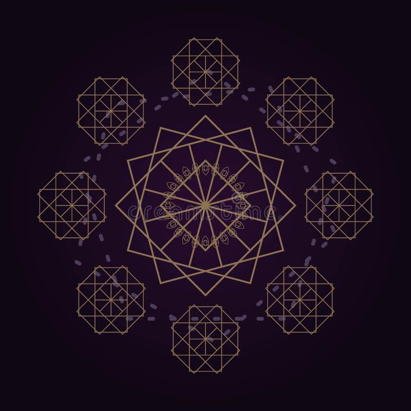 bakgrund för geometri för mandala för vektor guld- abstrakt sakral isolerad mörk illustration vektor illustrationer