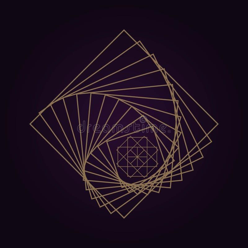 bakgrund för geometri för mandala för vektor guld- abstrakt sakral isolerad mörk illustration royaltyfri illustrationer