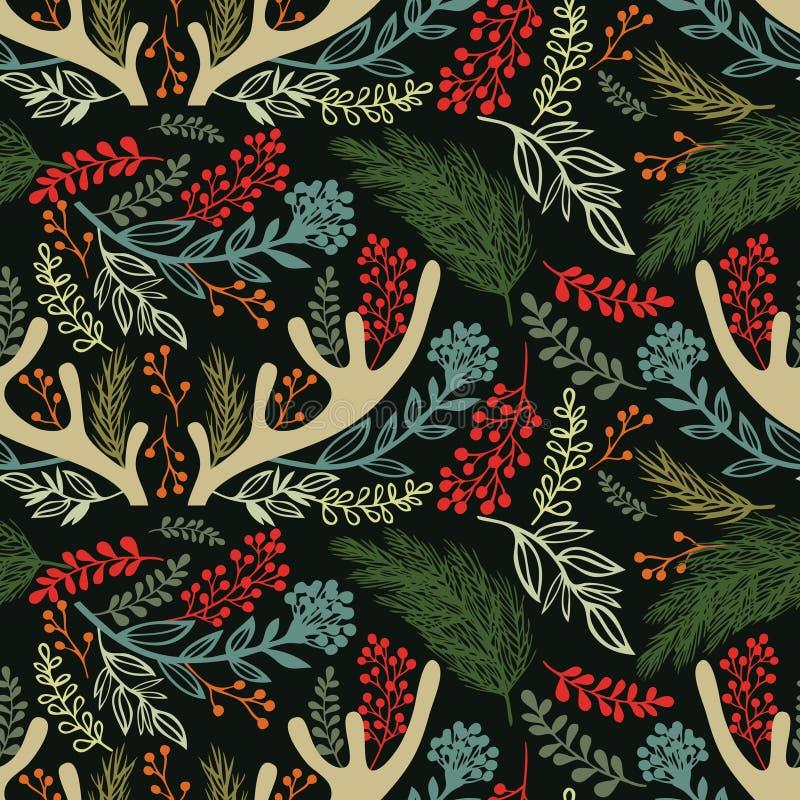 Bakgrund för glad jul. Horn på kronhjort, ris och henne stock illustrationer