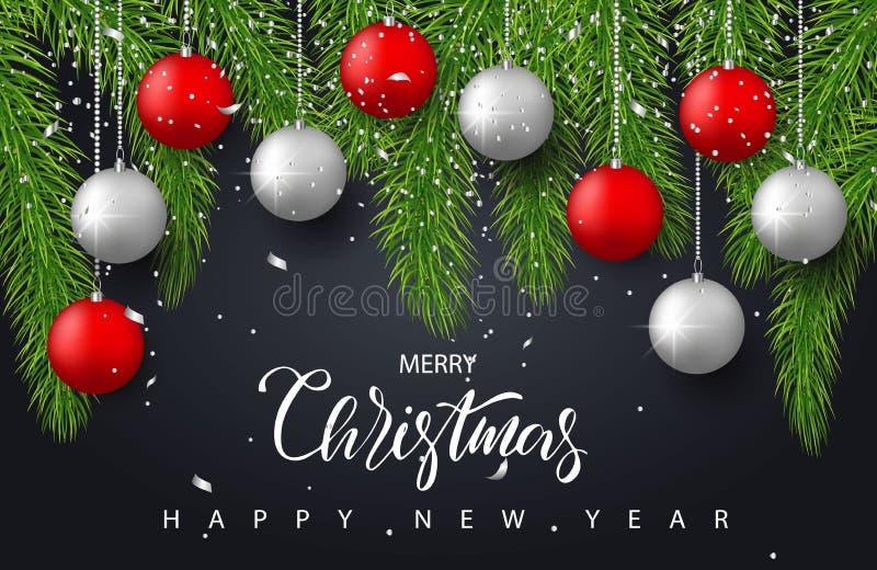 Bakgrund för glad jul och för lyckligt nytt år med röda och silverbollar, trädfilialer och konfettier Feriehälsning royaltyfri illustrationer