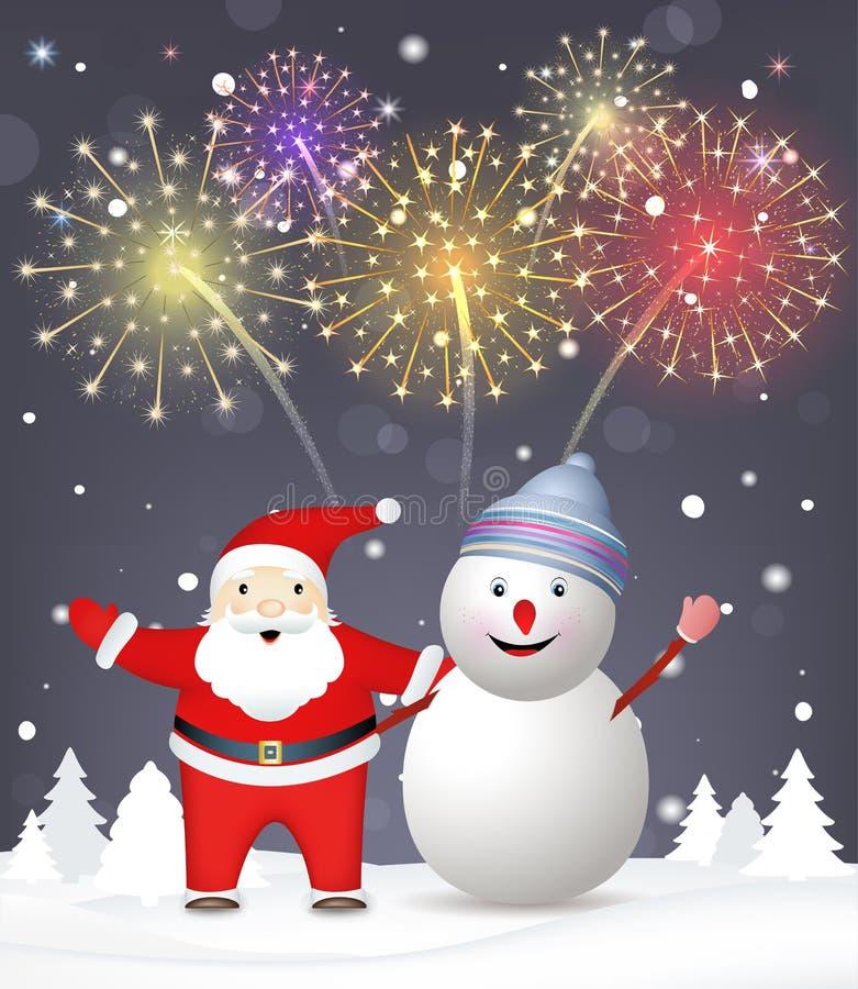 Bakgrund för glad jul. Santa Claus med snowm stock illustrationer