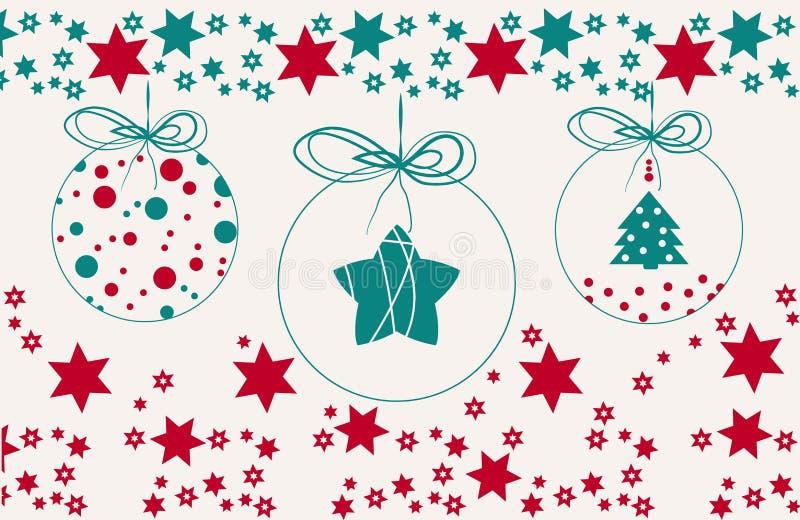 Bakgrund för glad jul för tappning med bollar och stjärnor stock illustrationer