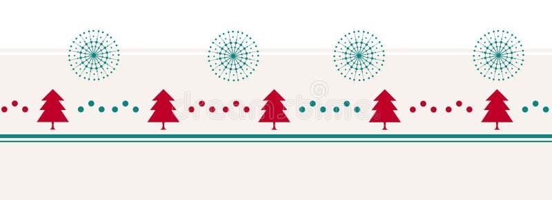 Bakgrund för glad jul för tappning med träd, prickar och snöflingor vektor illustrationer
