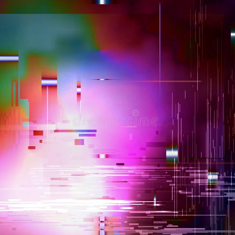 Bakgrund för Glitched abstrakt begreppvektor Gjort av färgrik PIXELmosaik Digital förfall, signalfel, televisionkuggning Moderikt vektor illustrationer