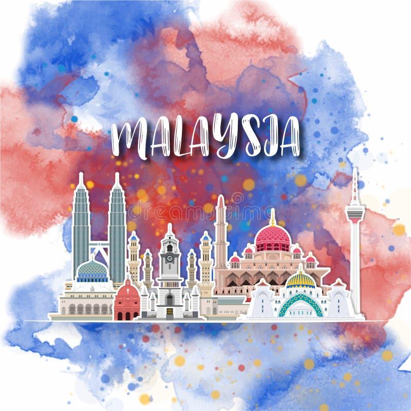 Bakgrund för global vattenfärg för lopp och för resa för Malaysia gränsmärke som f?r delstiker f?r design den trevliga mallen som stock illustrationer