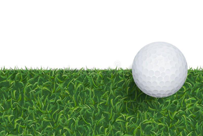 Bakgrund för golfboll och för grönt gräs med område för kopieringsutrymme vektor royaltyfri illustrationer