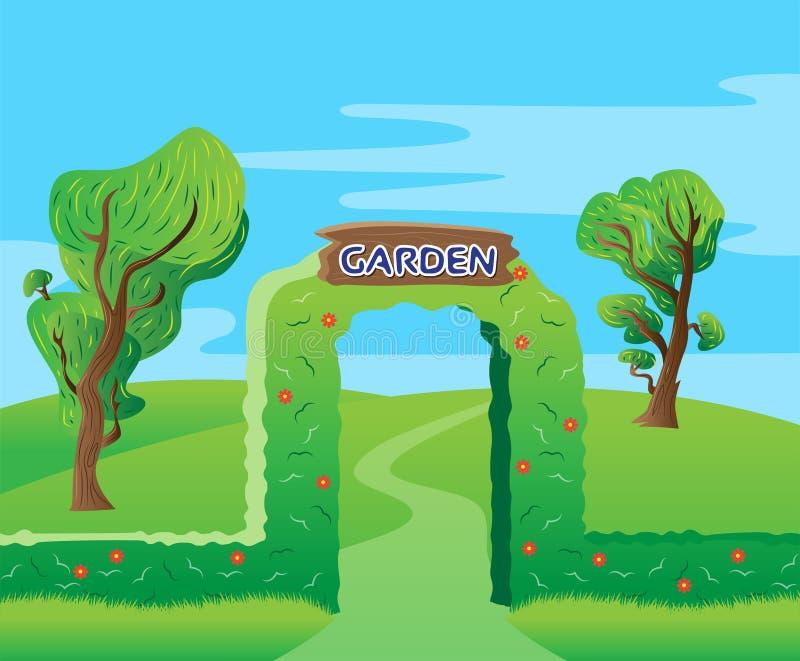 Bakgrund för gräsplan för trädgårdingångsport royaltyfri illustrationer