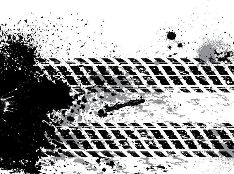 Bakgrund för Grunge gummihjulspår med blots royaltyfri illustrationer