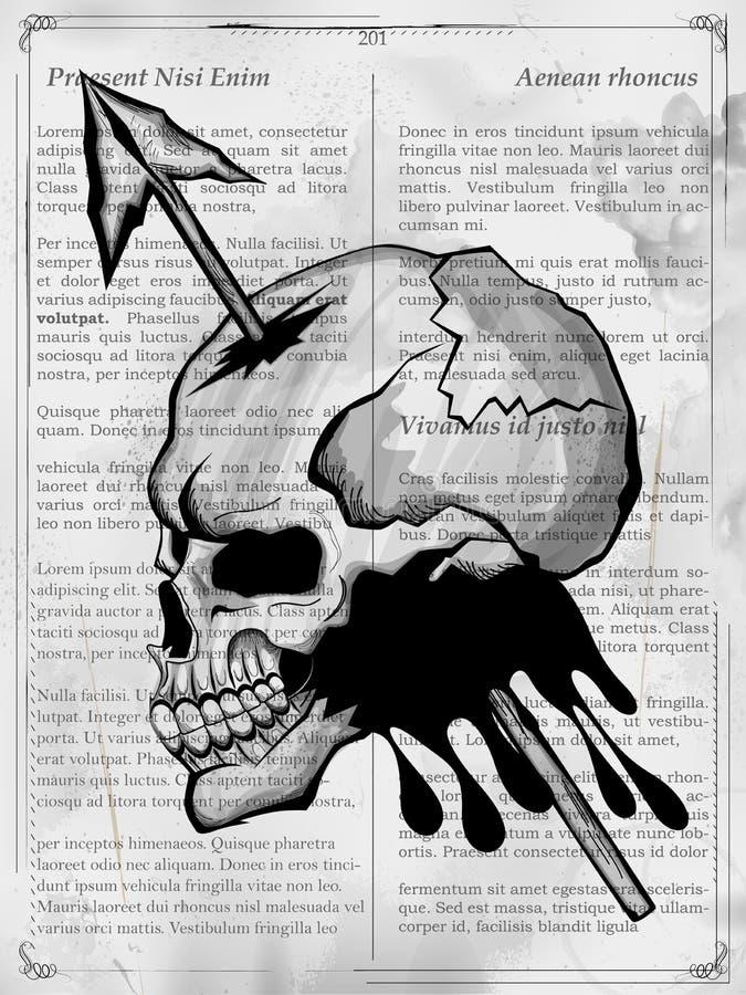 Bakgrund för grungy tryck för skalle för Vintge stil retro vektor illustrationer