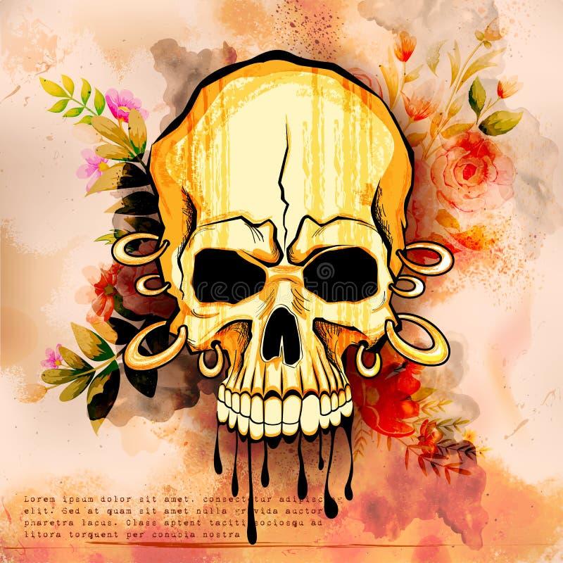 Bakgrund för grungy tryck för skalle för Vintge stil retro stock illustrationer