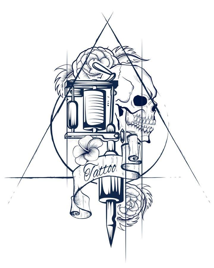 Bakgrund för grungy tryck för skalle för Vintge stil retro royaltyfri illustrationer