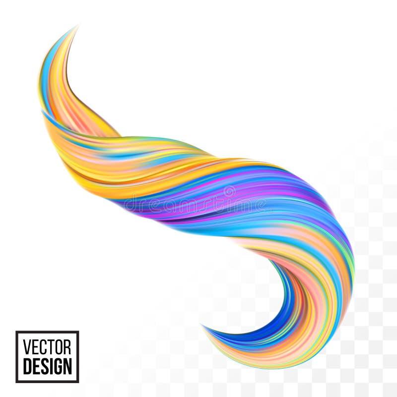 Bakgrund för guling för vektor för vridning för våg för färgmålarfärg 3D vektor illustrationer