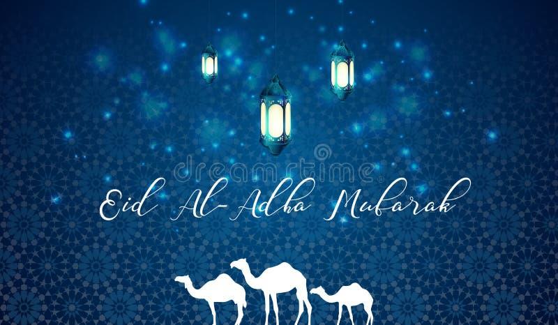 Bakgrund för hälsning för blått för Eid aladha med den arabiska lyktan och kamel royaltyfri illustrationer