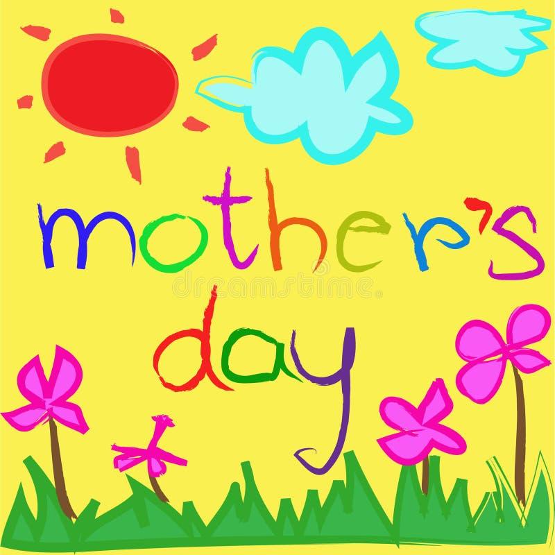 Bakgrund för hälsningkort för mors dag vektor illustrationer