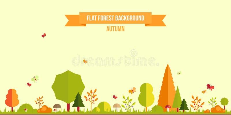 Bakgrund för höstskoglägenhet stock illustrationer